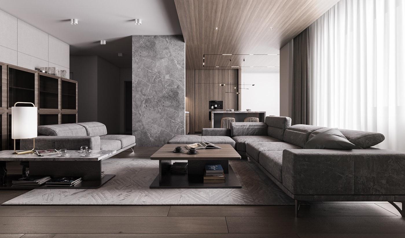 高级灰+木色,轻奢的都市趣味汕头设计师/汕头室内设计