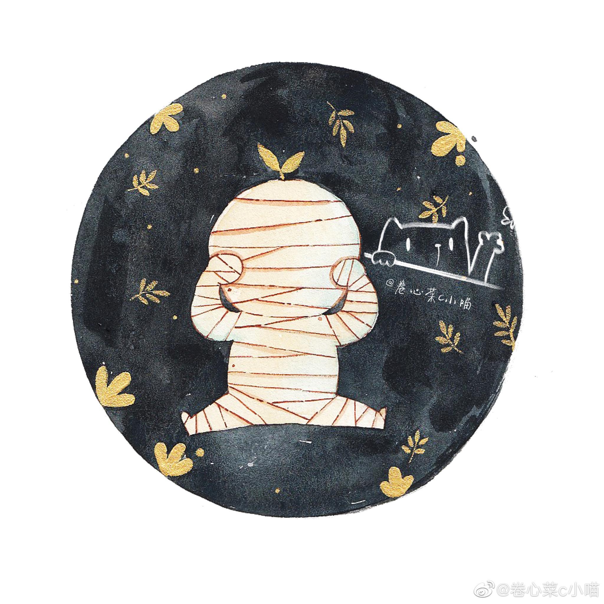 卡通版木乃伊,秒变萌萌哒  @卷心菜插画