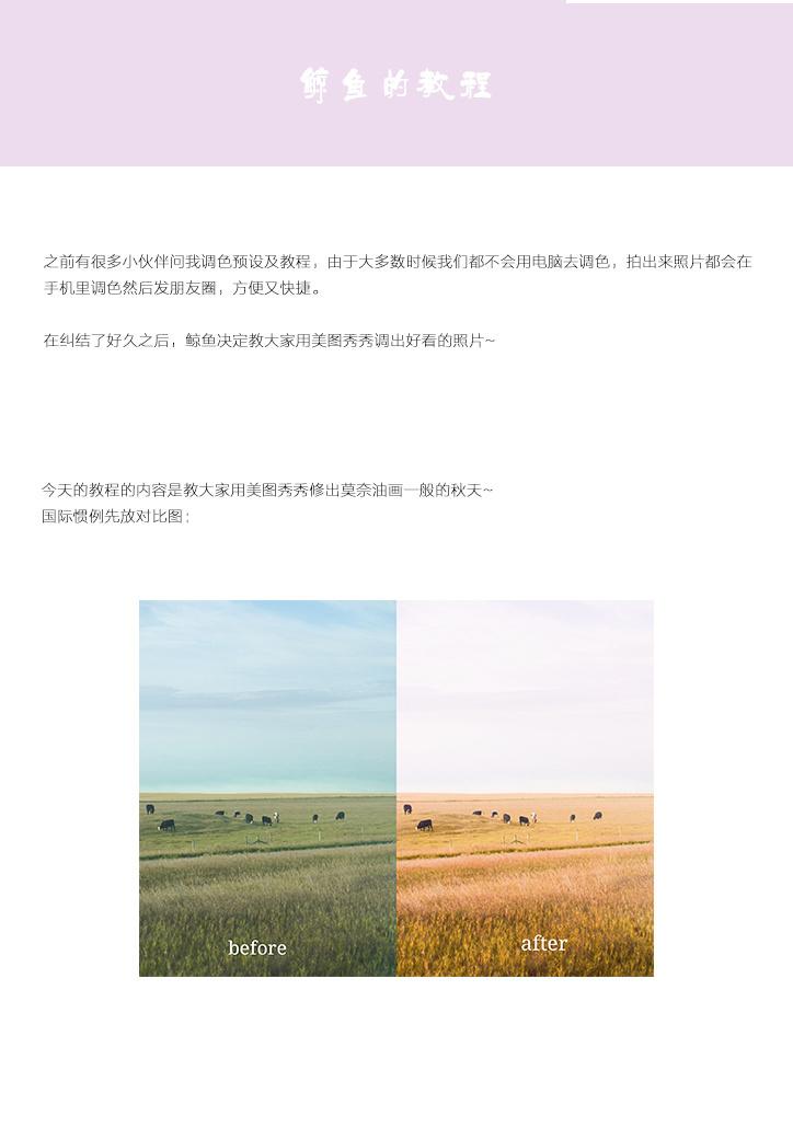 美图秀秀手机摄影调色教程-莫奈油画一般的秋天作者@不吃鲸