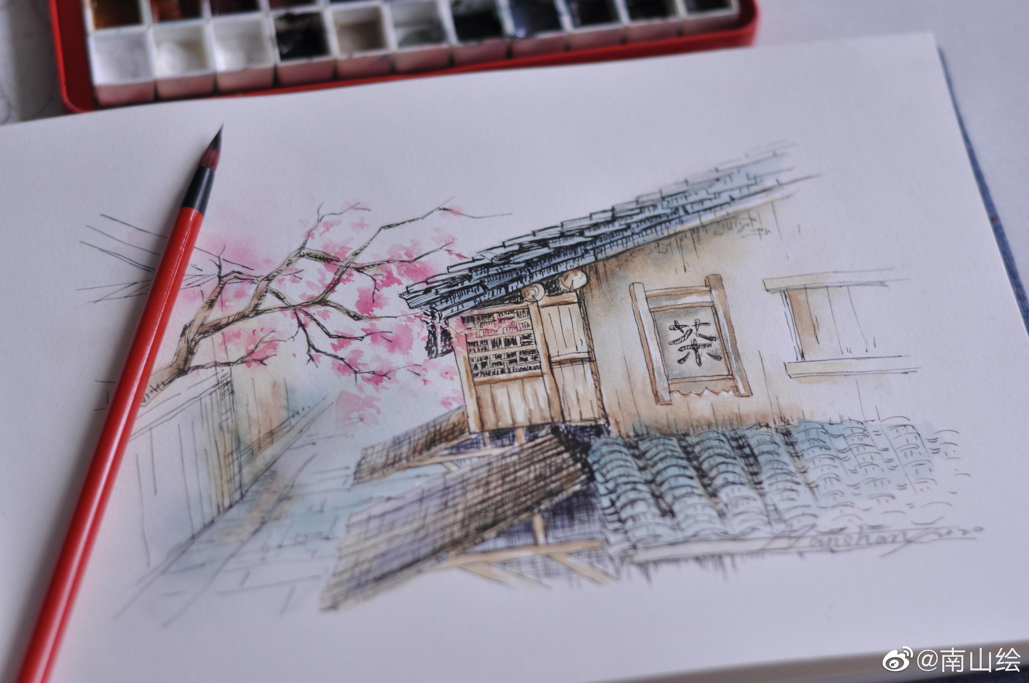 钢笔淡彩——乌镇(作者