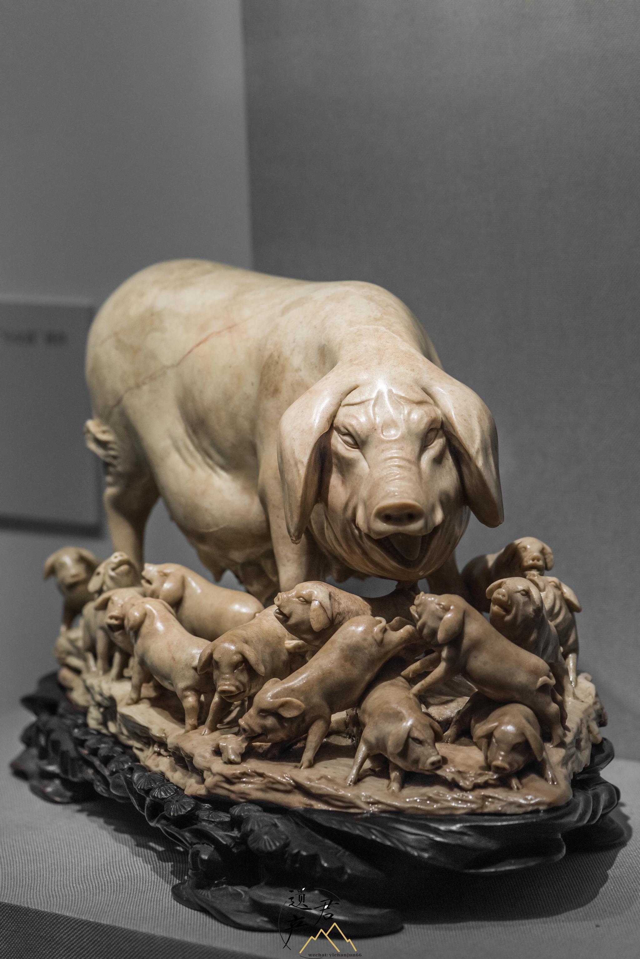 福建博物院藏· 寿山石雕母猪摆件