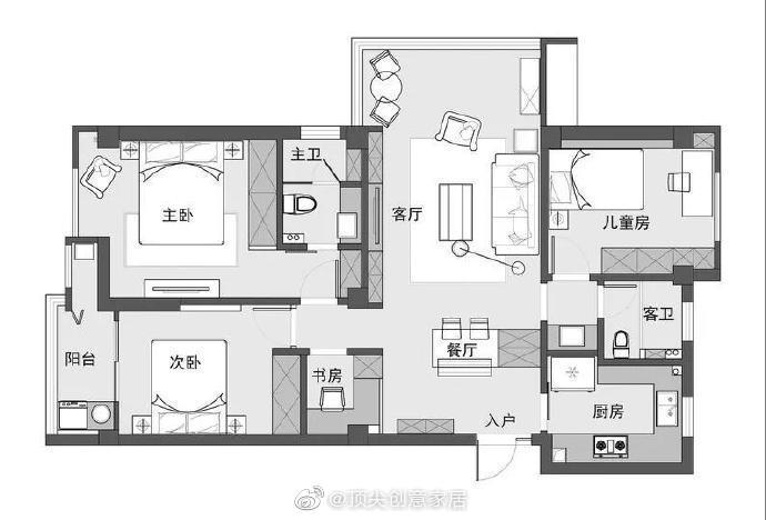 116㎡日式MUJI风三居室