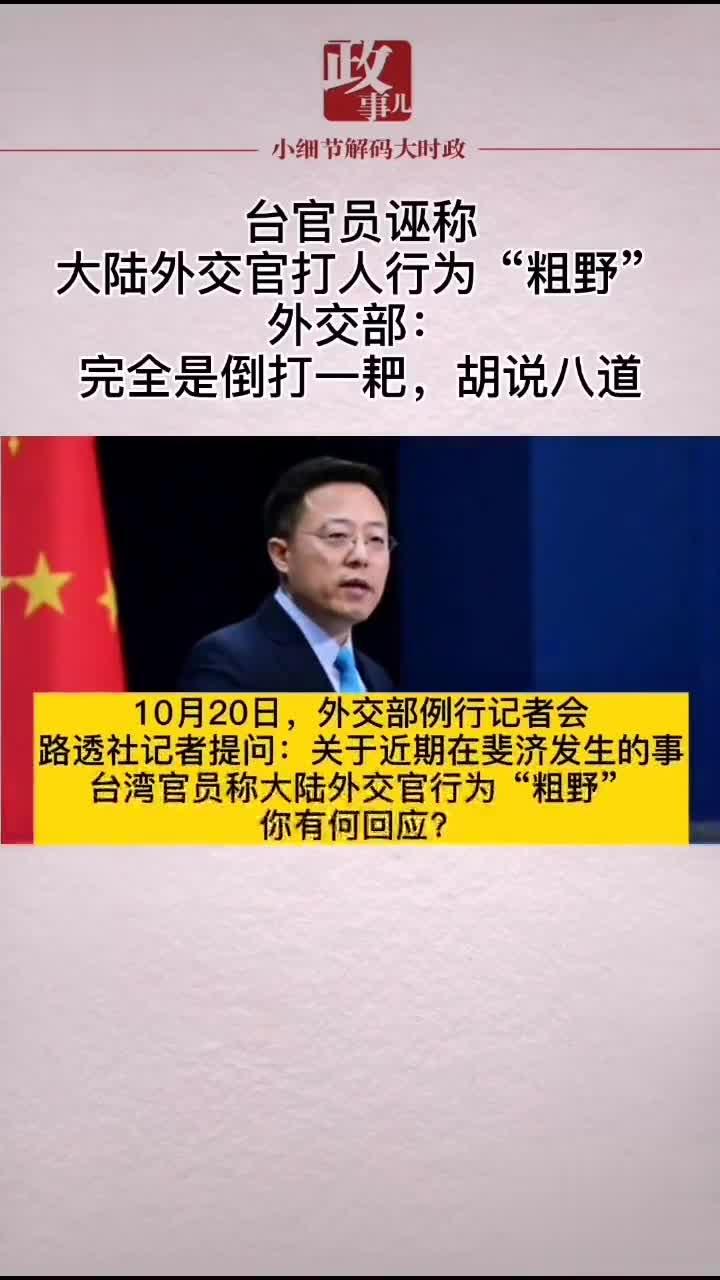 """台官员诬称大陆外交官打人行为""""粗野""""……"""