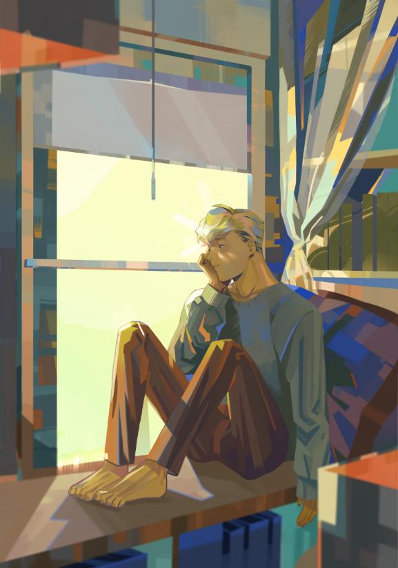 插画师atsukie_r的一组男生人物意境插画作品,画面画风舒适