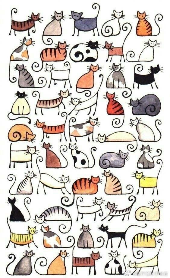 猫咪简笔画素材大全……马住!