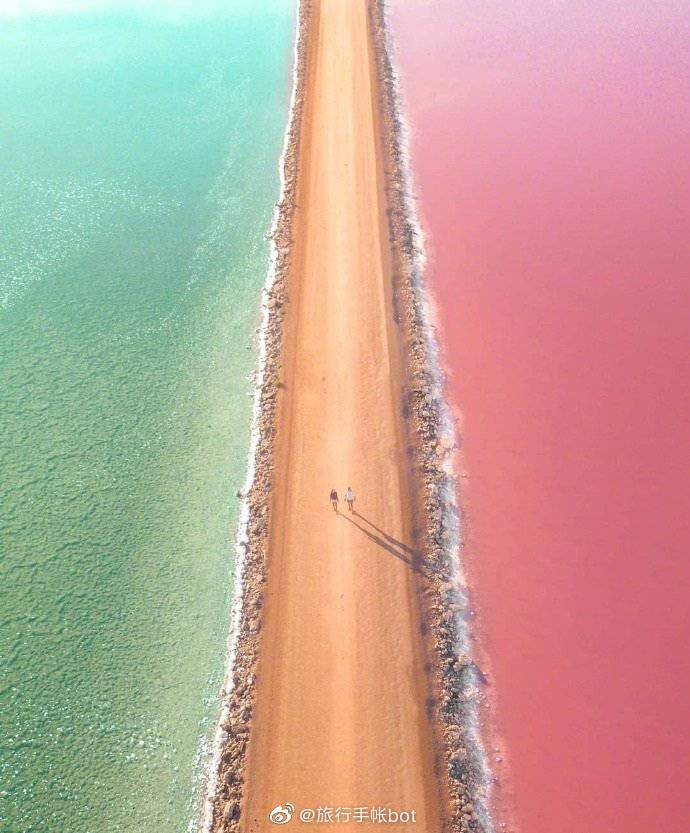 澳大利亚的麦克唐纳尔湖,糖果色的湖泊