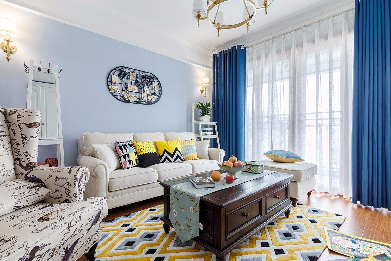 80㎡现代美式两居装修效果图。整体色彩采用治愈的蓝色