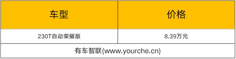 配置微调 东风风神奕炫新增车型上市售8.39万元