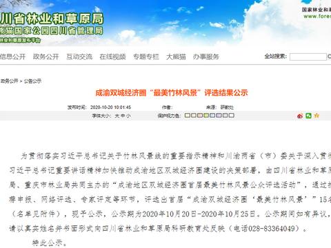 """首届成渝双城经济圈""""最美竹林风景""""评选结果出炉,达州一景区入选"""