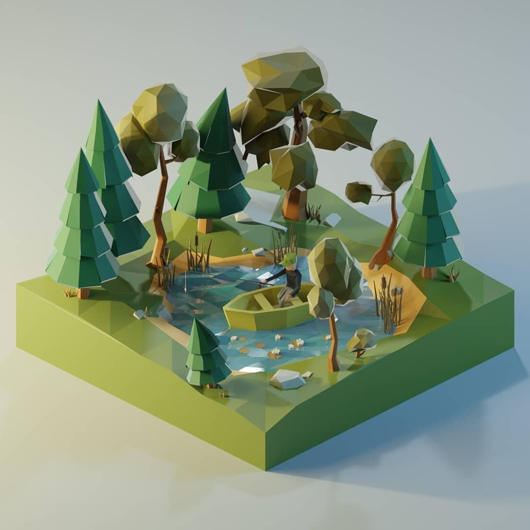 3d设计师Пелополи的Low Poly风的模型在颜色渲染和场景设置都