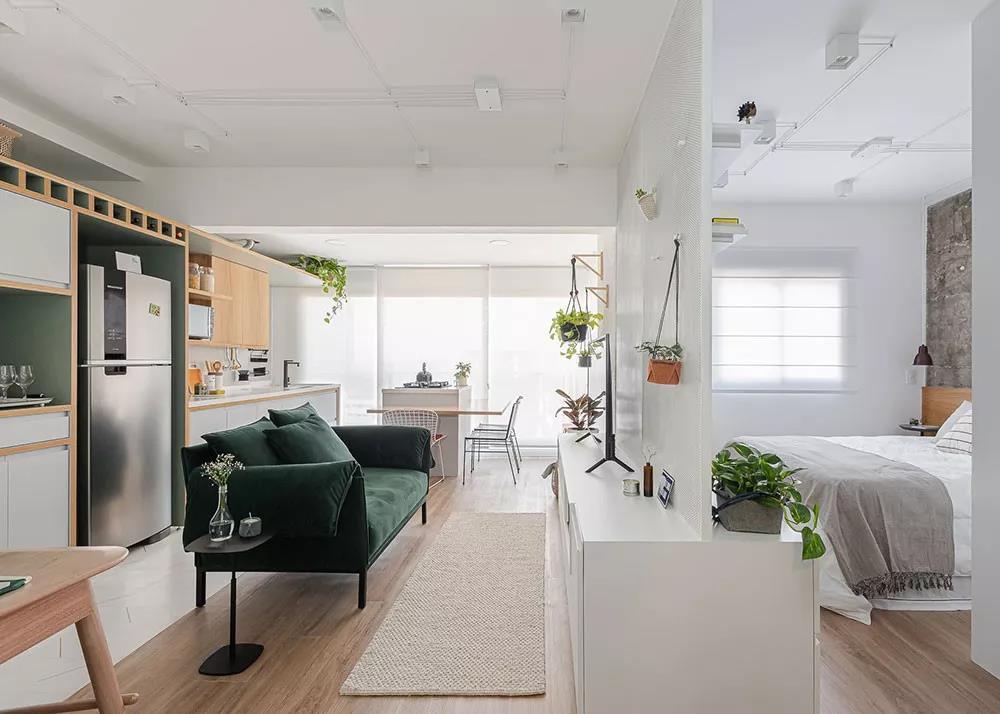 38㎡小公寓,薄荷绿+木质材料,清新美丽~