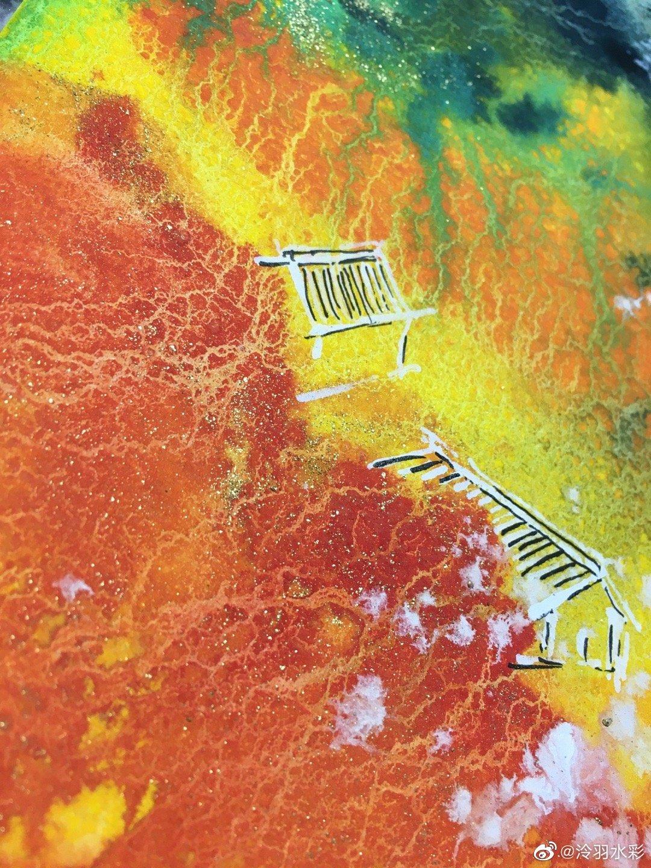 泼墨水彩风格。运用了国画颜料和金粉