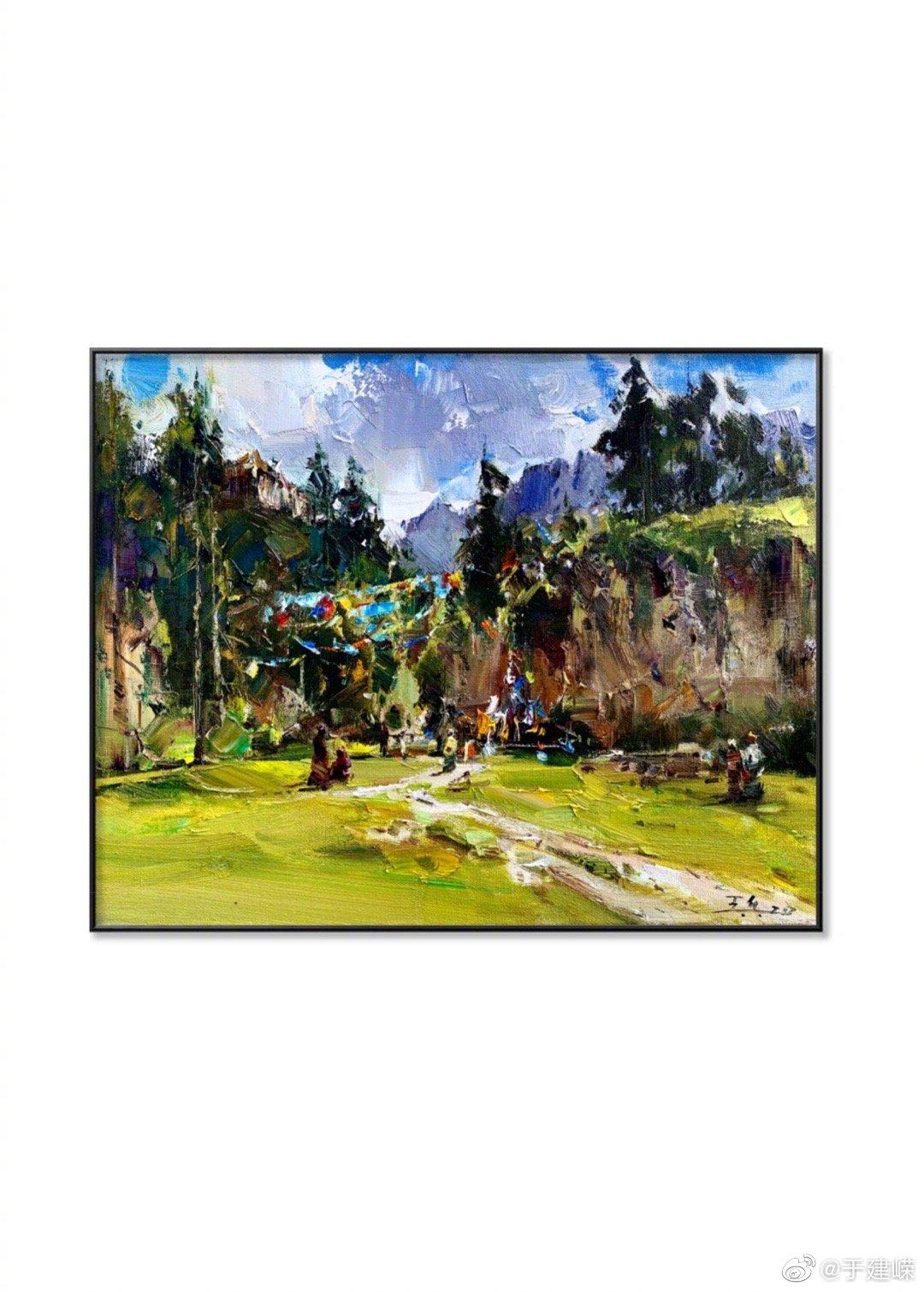 王兵甘南写生作品作品——《和风》 画出了甘南藏区风情。