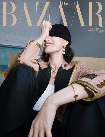 GUCCI 代言人倪妮头戴黑色毛线帽遮眼照登上《芭莎时尚》四月刊封面