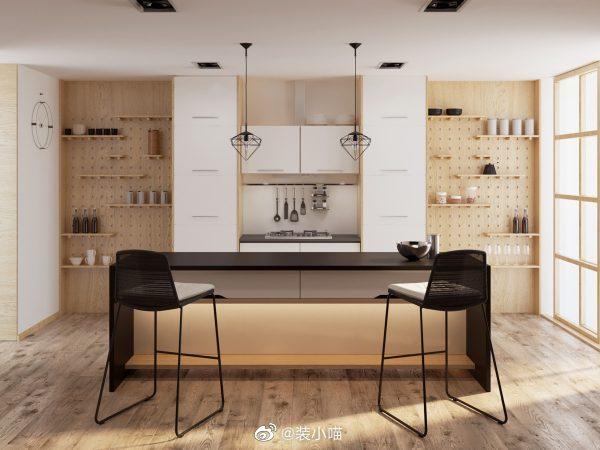 开放式厨房设计,很多人会选择,可以增加空间互通,空间利用