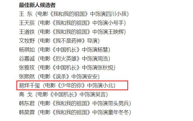 易烊千玺入围第35届大众电影百花奖最佳新人候选凭借在《少年的你》