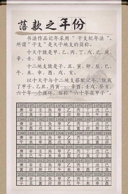 """文化 知识贴 """" 中国书画落款 时间查询表… """""""