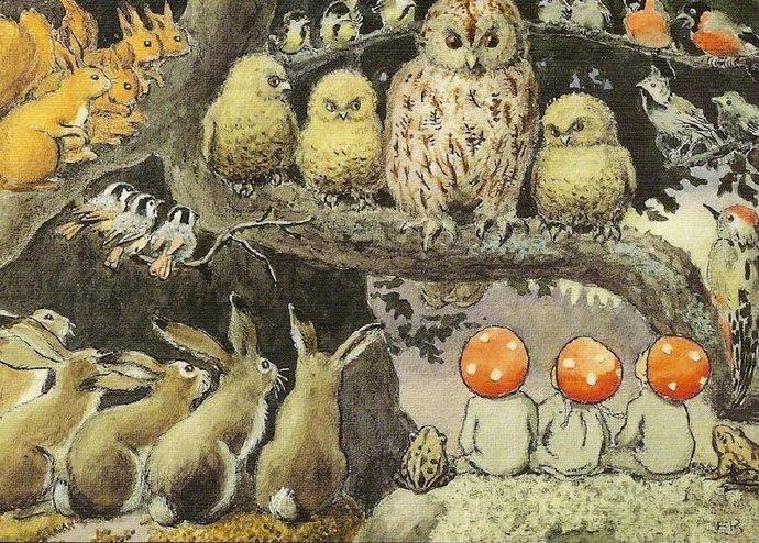 1910年瑞典插画家Elsa Beskow创作的儿童绘本《森林之子》