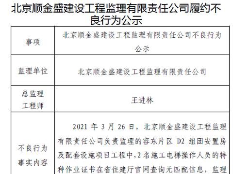 北京顺金盛建设工程监理有限责任公司履约不良行为公示