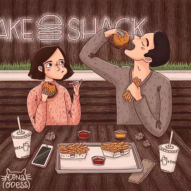 美国插画家Dina Odess笔下的情侣日常,爱就是一起吃吃吃!