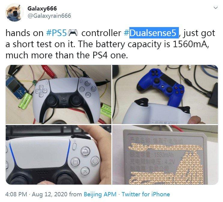 网友晒PS5手柄上手图 电池容量更大按键反馈更舒适