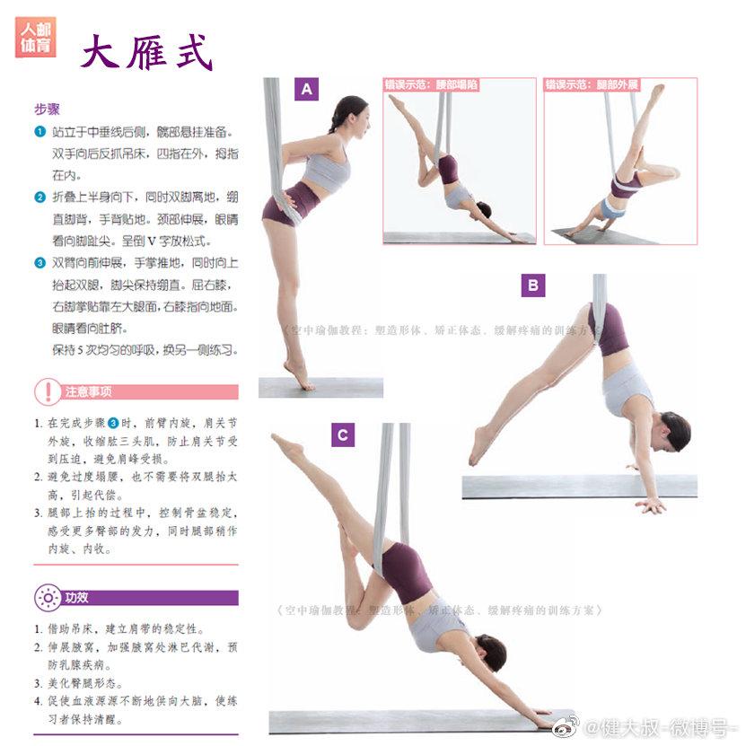 空中瑜伽兼具了力量与柔美的锻炼动作