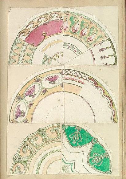 瓷盘纹样平面图谱