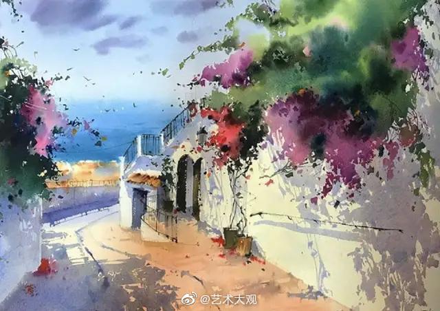 西班牙女画家Blanca Alvarez风景水彩画