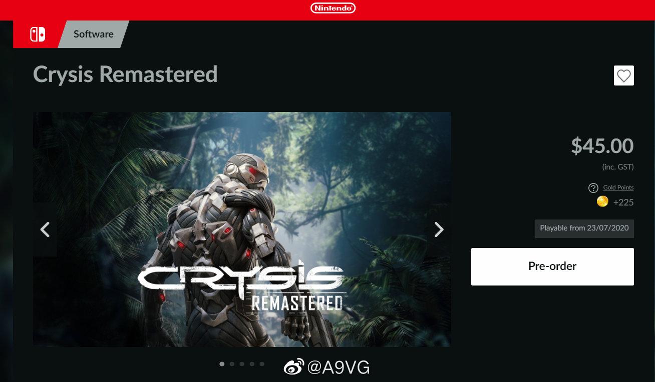 澳洲任天堂公开了《孤岛危机 高清版》Switch版的首批截图