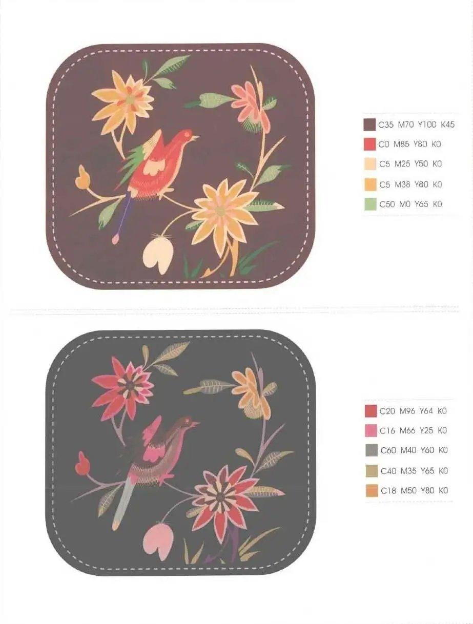 满满的高级感,传统刺绣图案与配色