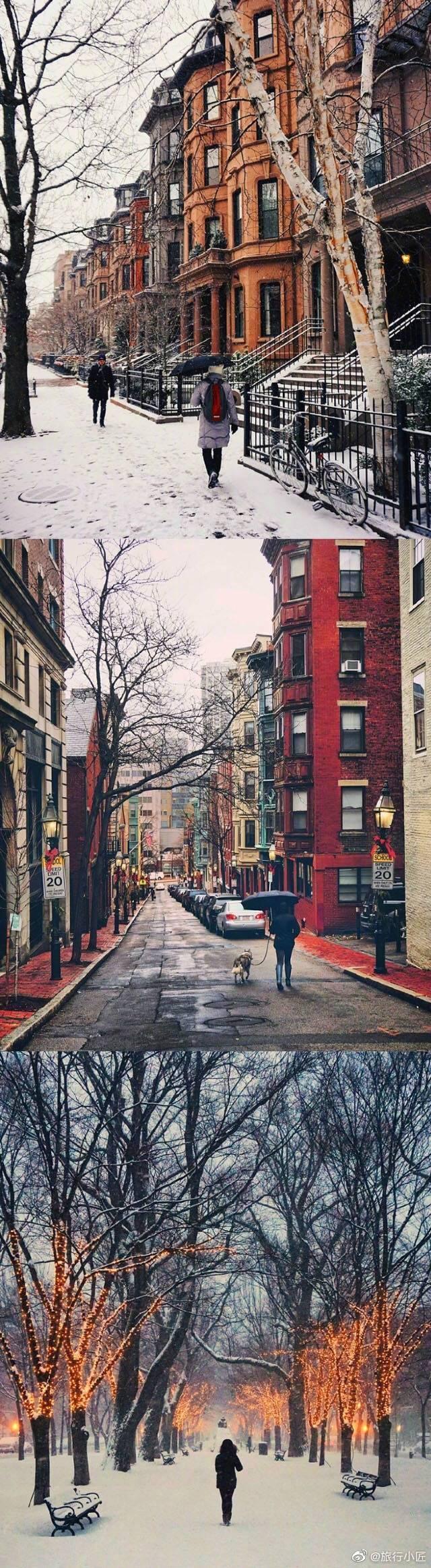 寒冬腊月的波士顿。
