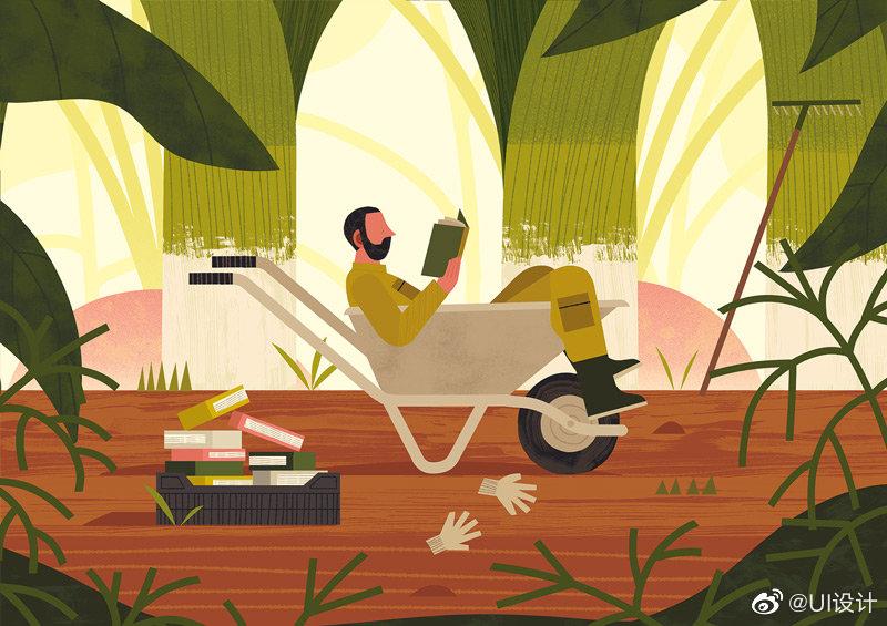 自由插画家和概念画家 Benjamin Flouw清新舒适的平涂插画