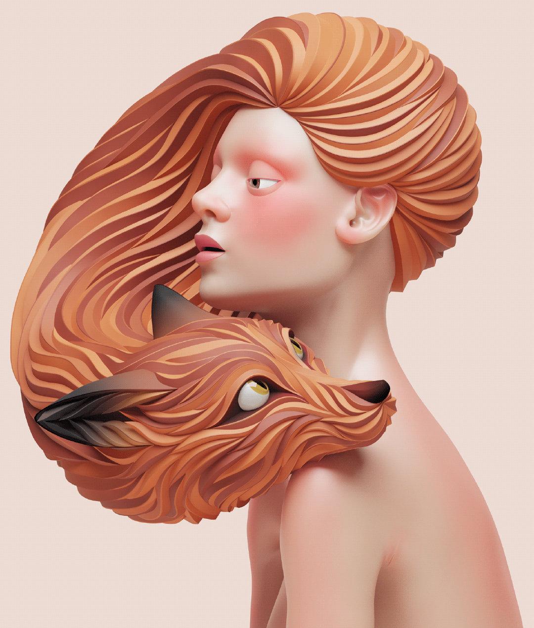 视觉设计师Maxim Shkret把立体纸雕艺术与3D艺术结合、人与兽进行艺术