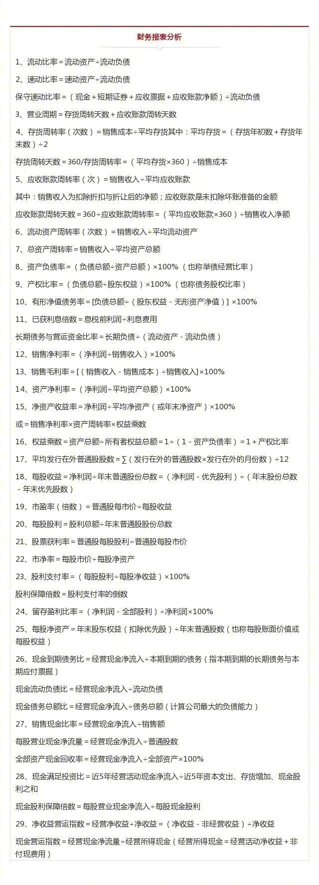 财务管理的110个经典公式