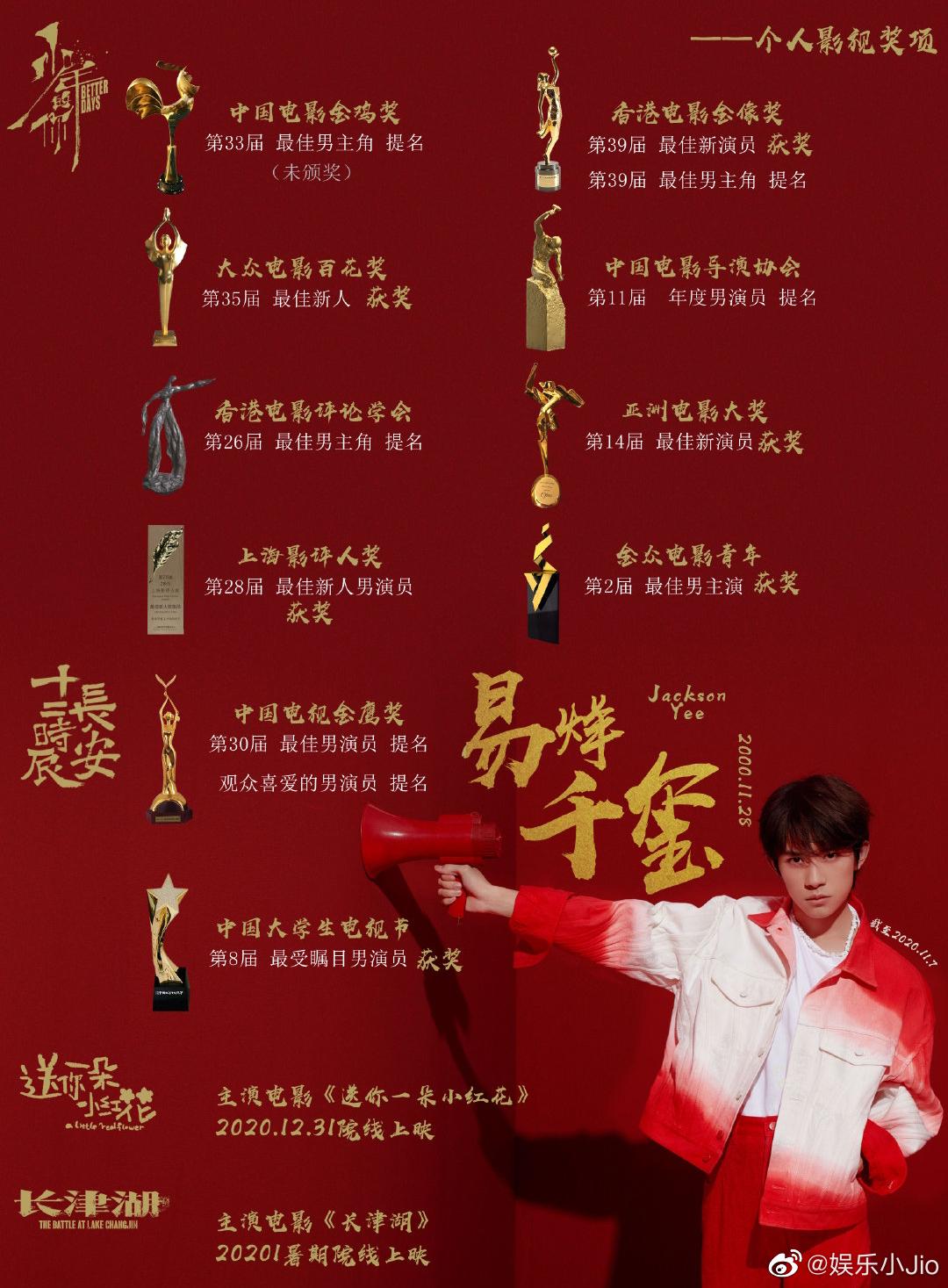 """易烊千玺凭借《少年的你》斩获广州大学生影展""""最受大学生欢迎男主角"""