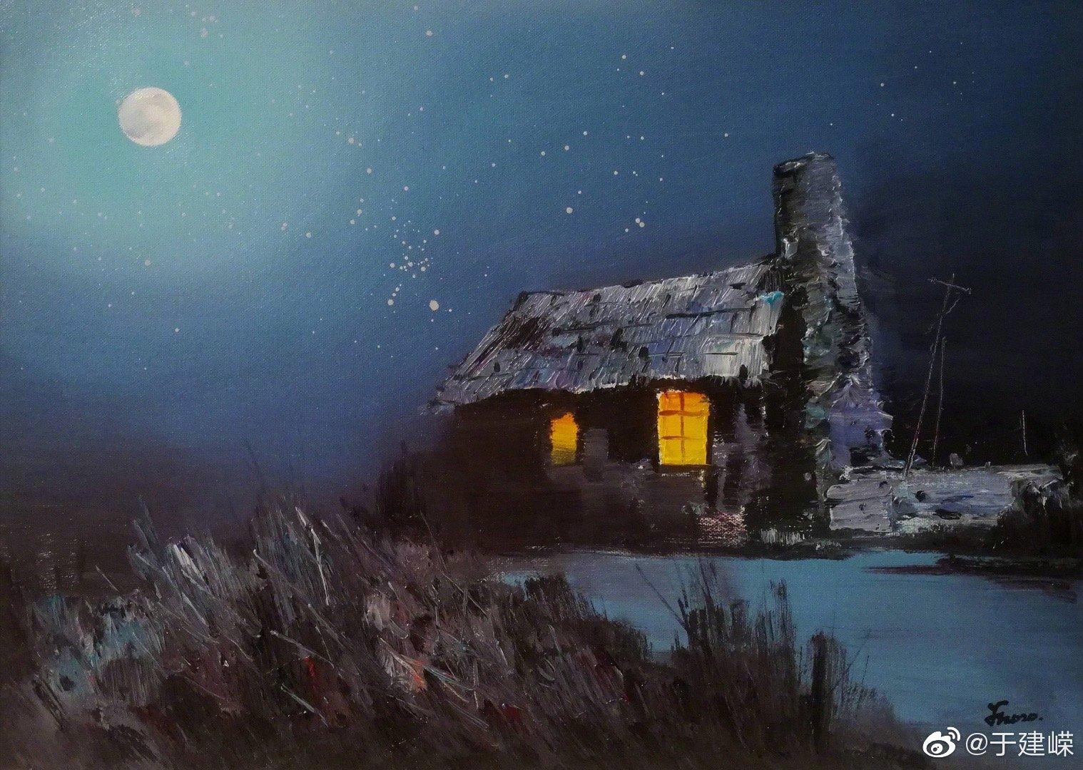 薛金拥油画作品—《月是故乡明》,构图,意境、色彩,均为上品。
