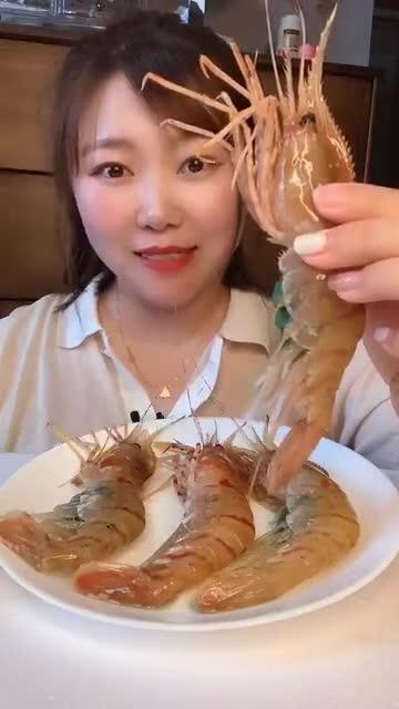 海鲜吃播 牡丹虾