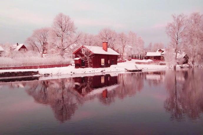 瑞典的冬日夕阳,盛夏看,好清爽。