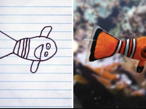"""艺术家爸爸将孩子涂鸦的""""不明生物"""",p成现实,相当搞笑了"""