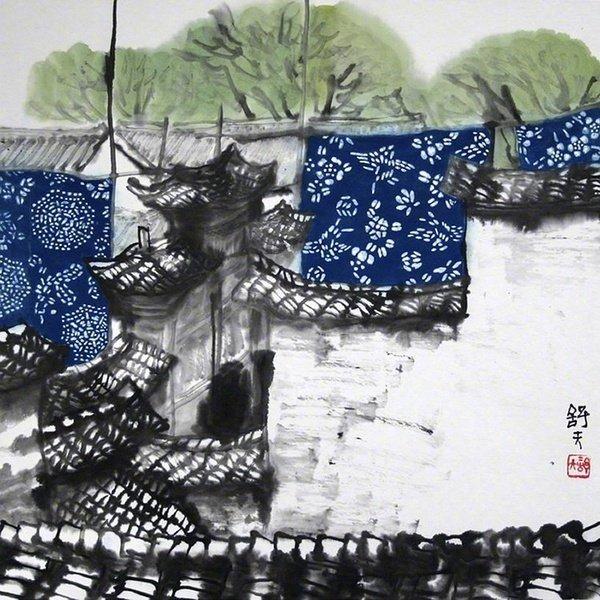 曹舒天老师笔下的江南,石拱桥,乌蓬船