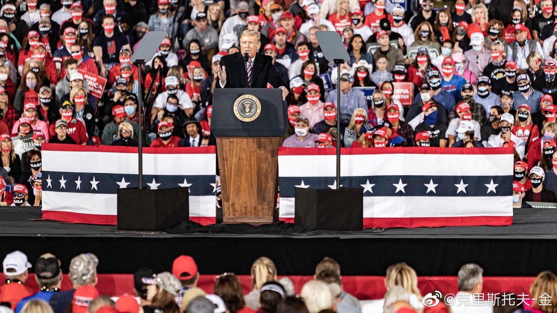 今晚,川普在宾西法利亚州机场竞选造势,人山人海