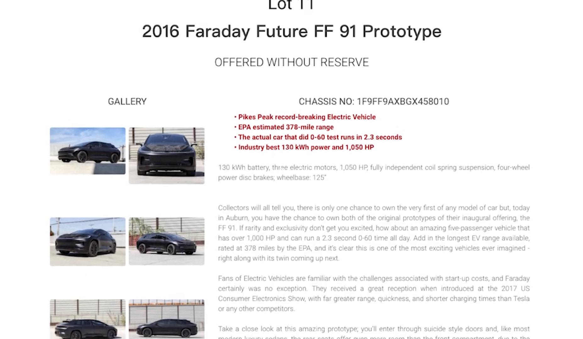 FF 91原型车将进行拍卖,目前起拍价尚未公布。