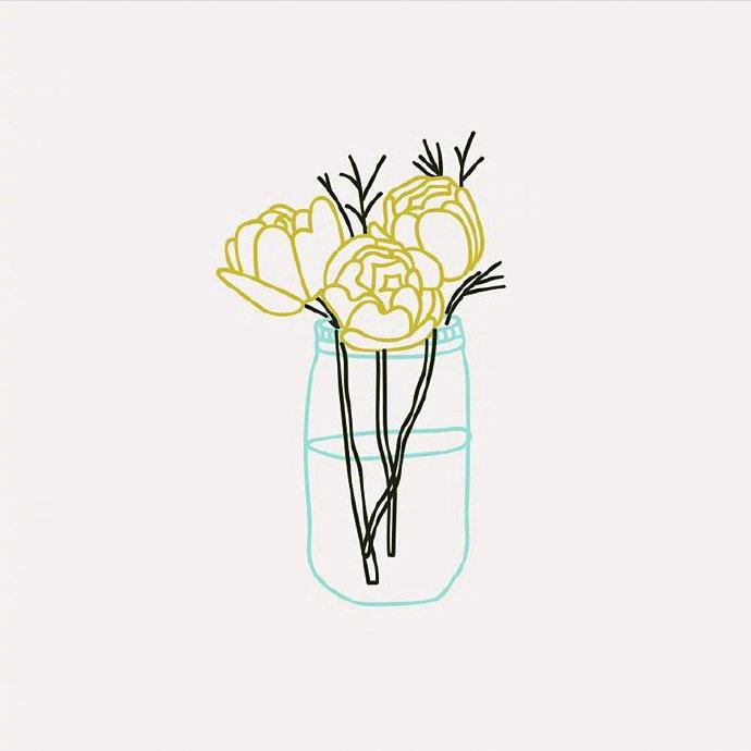 一组简约的插画设计ins:rineeshah