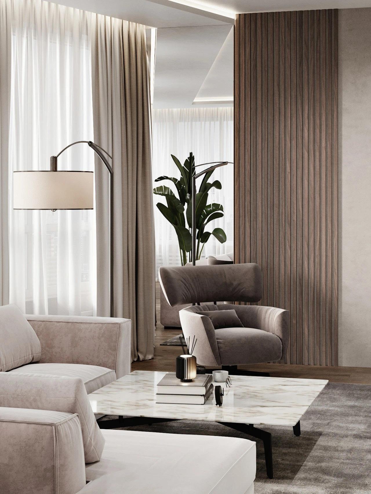 Ruslan Khizetl现代简约风公寓通过稳重端庄的色调与质感在简单大