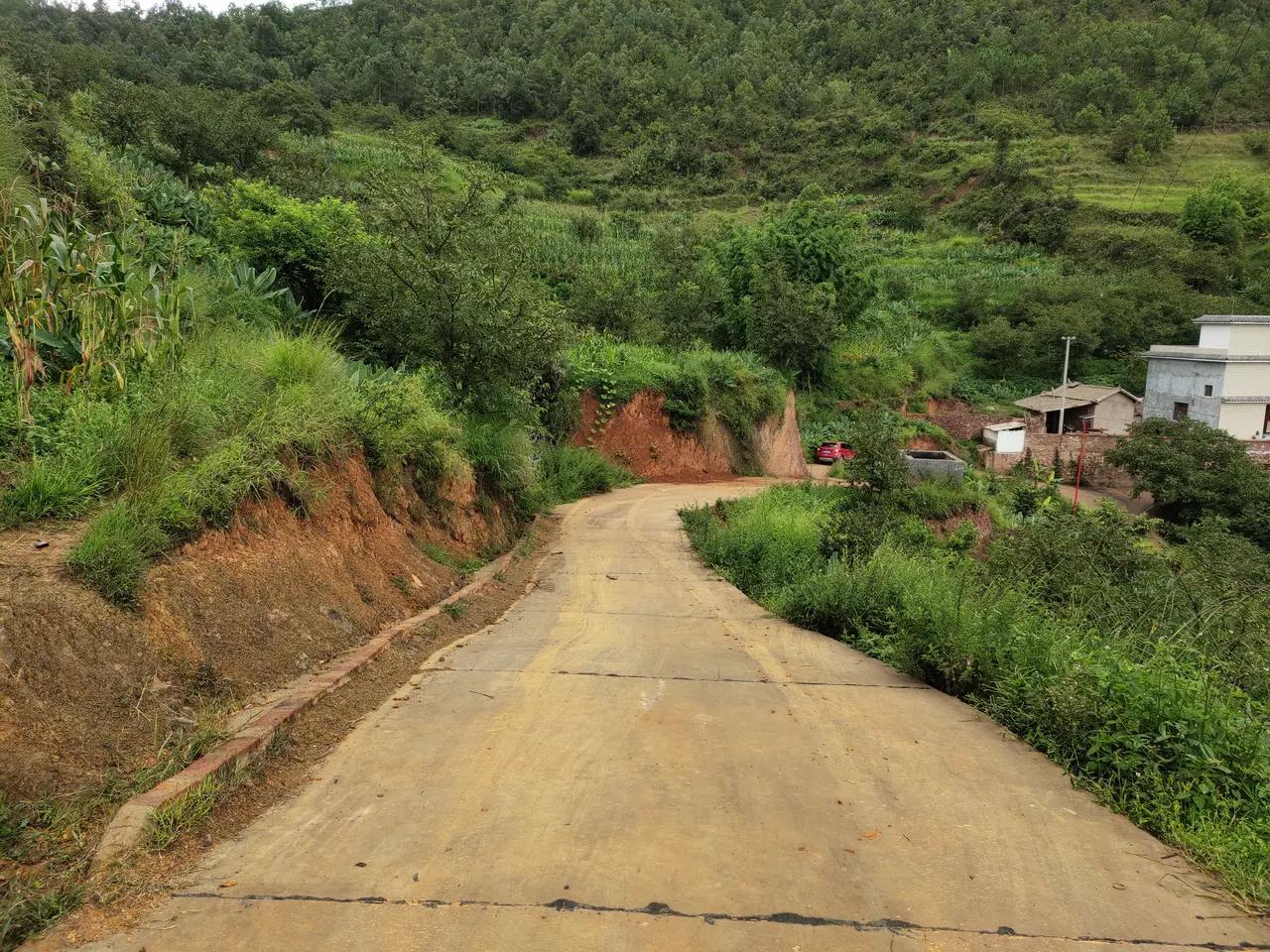 周未朋友回老家突然下雨,有一段土路,然后有一段下坡水泥路