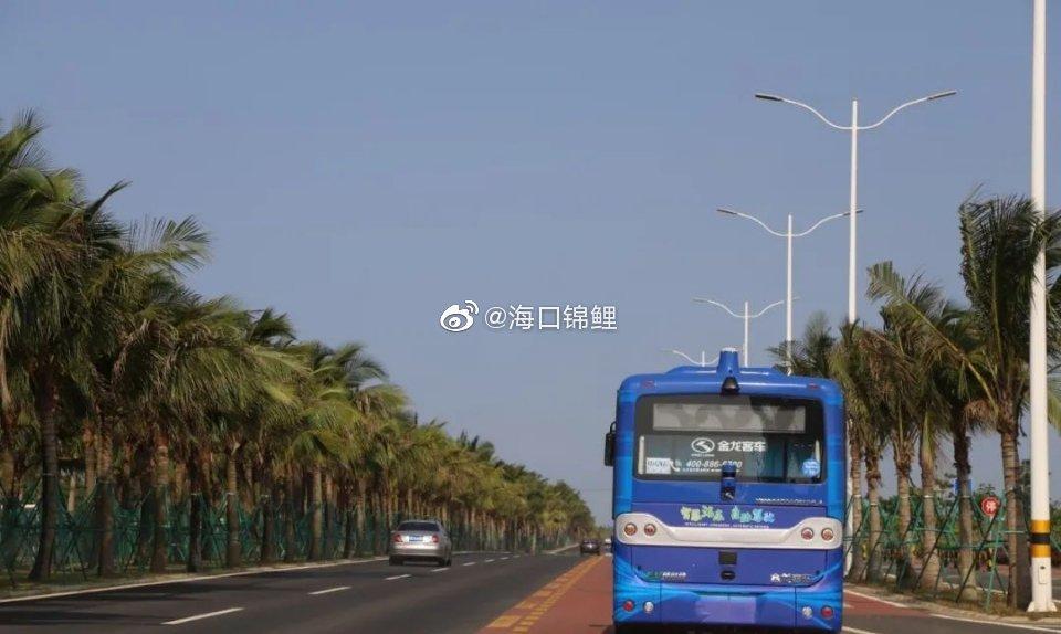 海口 无人驾驶!海南首个开放道路自动驾驶公交车成功试运行