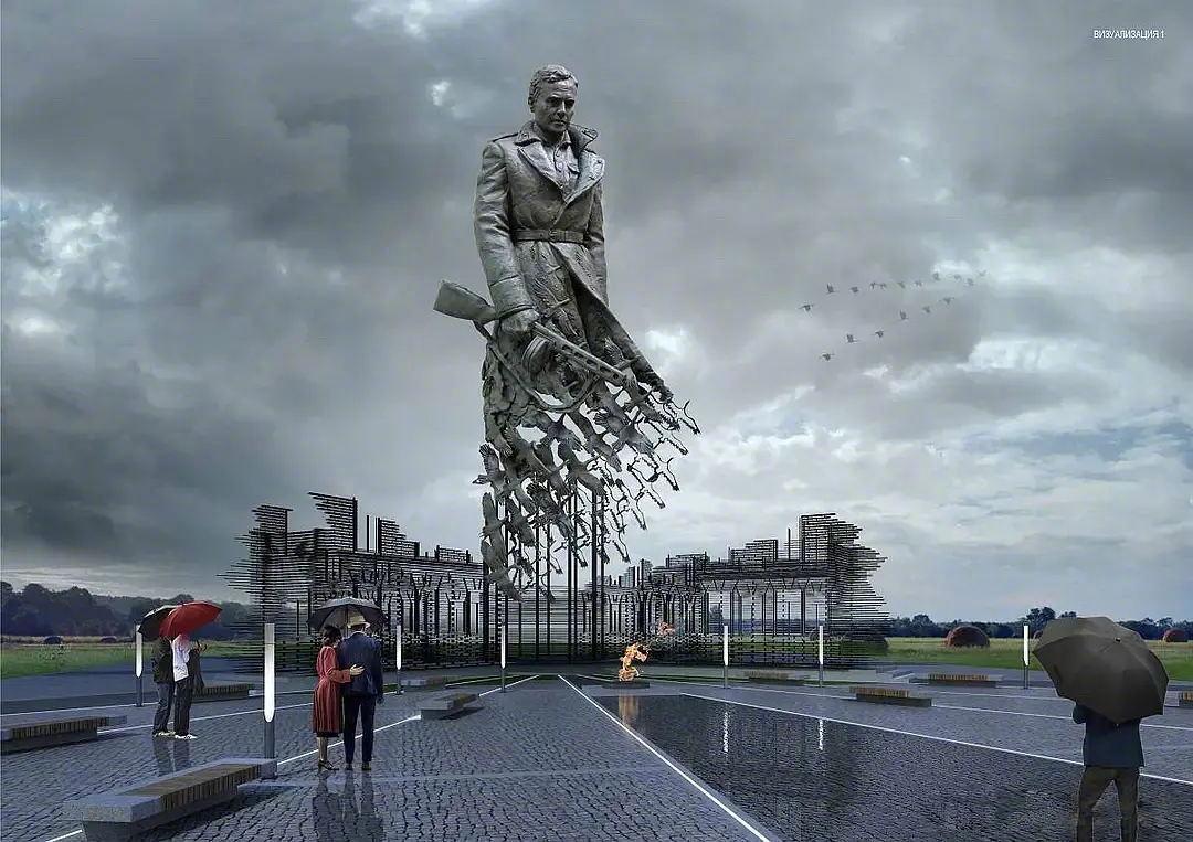 近日完成的俄罗斯勒热夫战役纪念雕塑,视觉设计超震撼