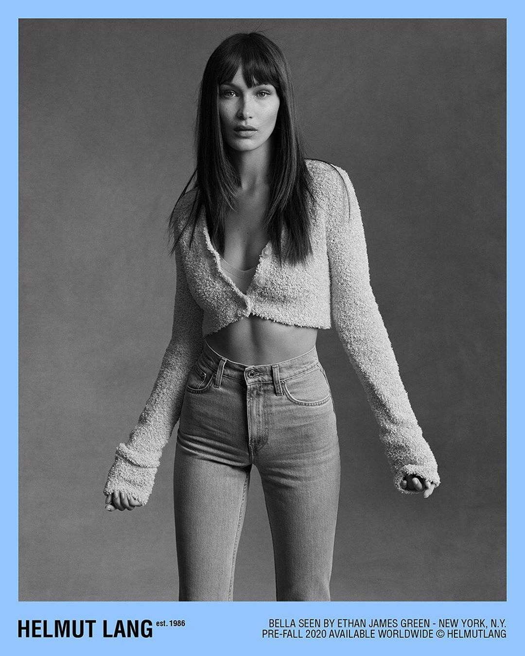 Bella Hadid为Helmut Lang拍摄的最新广告大片我晕 黑白好美 曲线好