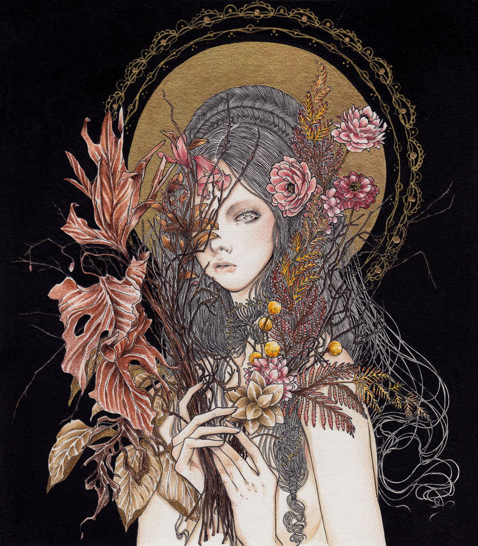 带着神性的暗黑少女插画.  巴拿马插画家 Andi Soto