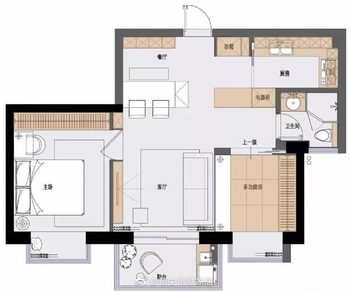 70平现代北欧风小户型,在客厅隔出一间房,时尚舒适又实用